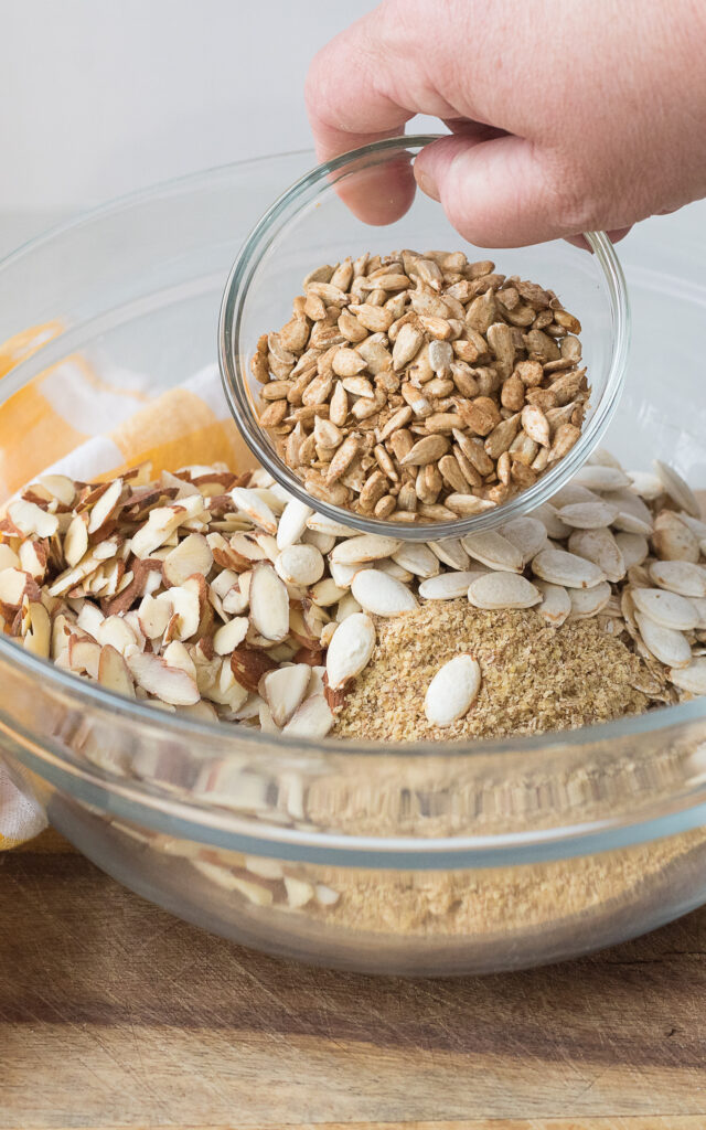 Easy Granola mixing together
