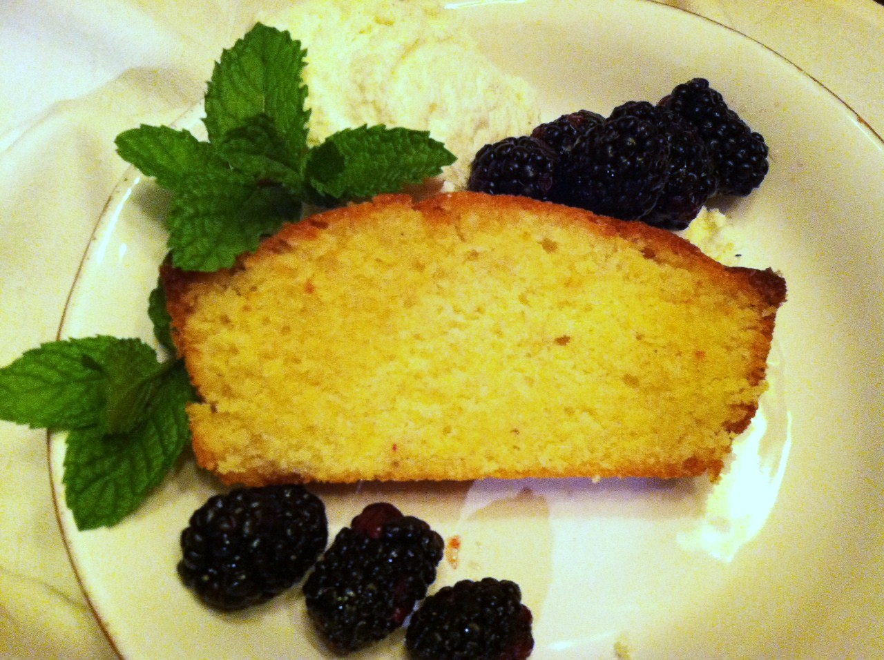 Rum Glazed Pound Cake with Fresh Berries
