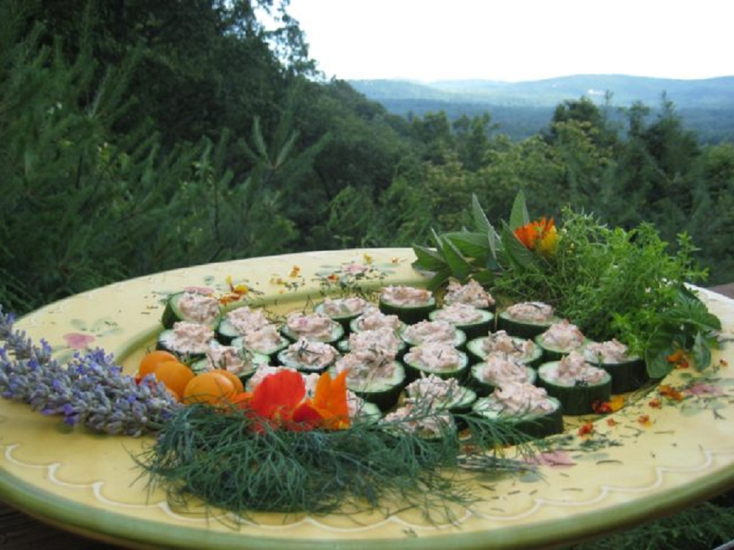Smoked Trout Dip served in Cucumber Cups