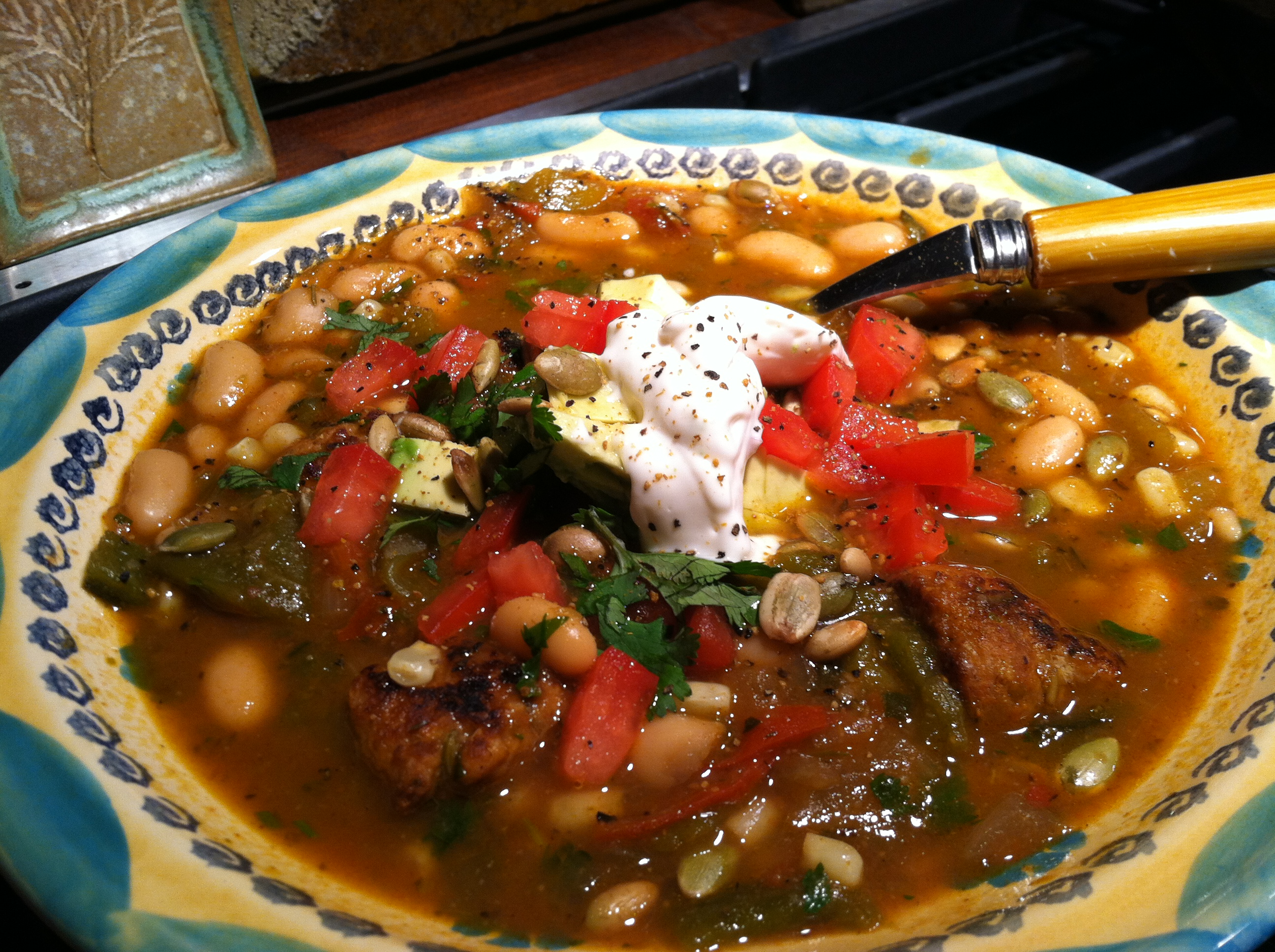 Chicken, White Bean and Poblano Chili topped with Cilantro
