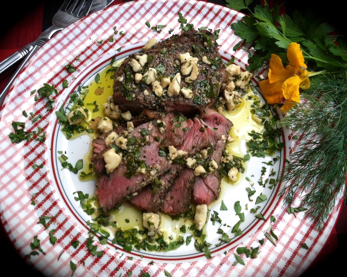 Black Pepper Steaks with Red-Wine Vinegar, Lemon and Feta Vinaigrette