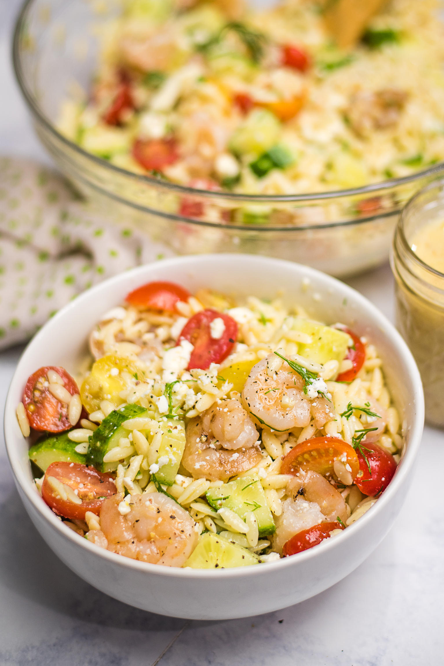 Summertime Greek Orzo Salad with Shrimp, Lemon, and Fresh Dill