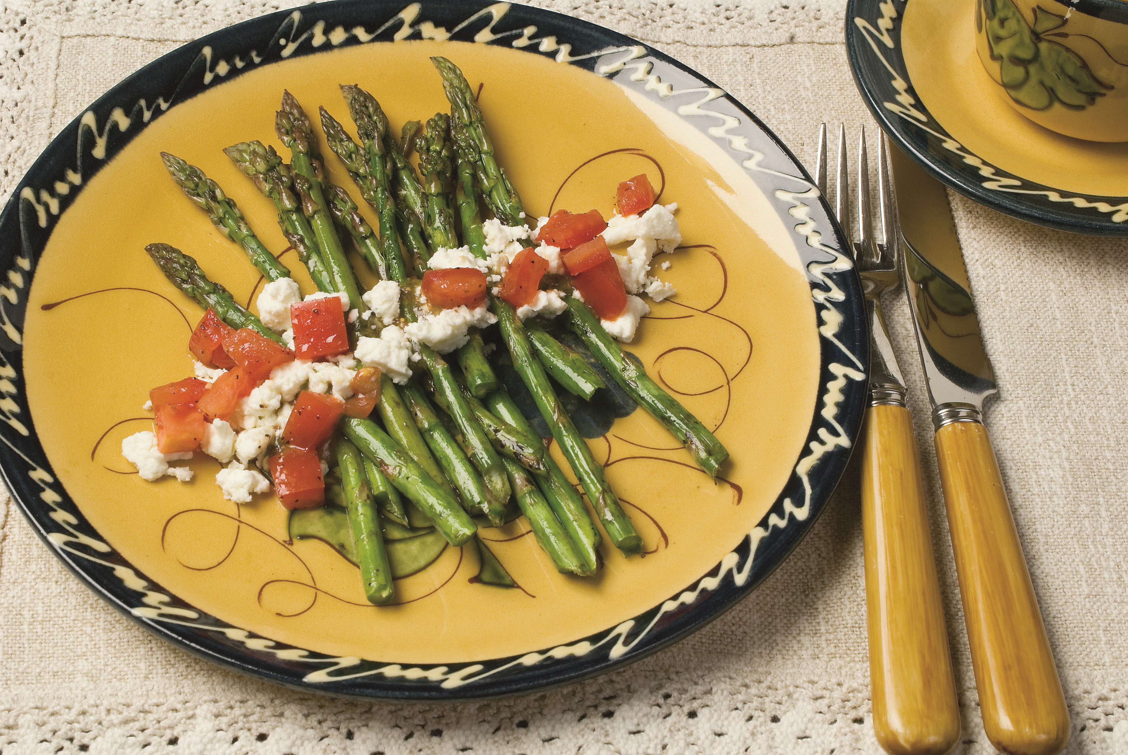 Balsamic Grilled Asparagus topped with Black Pepper Goat Cheese and Mint Sherry Vinaigrette