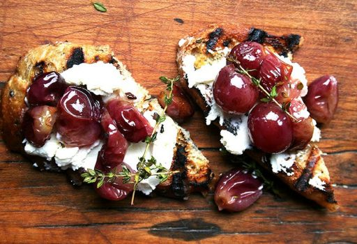 Roasted Red Grapes with Fresh Thyme, Ricotta Cheese on Bruchetta