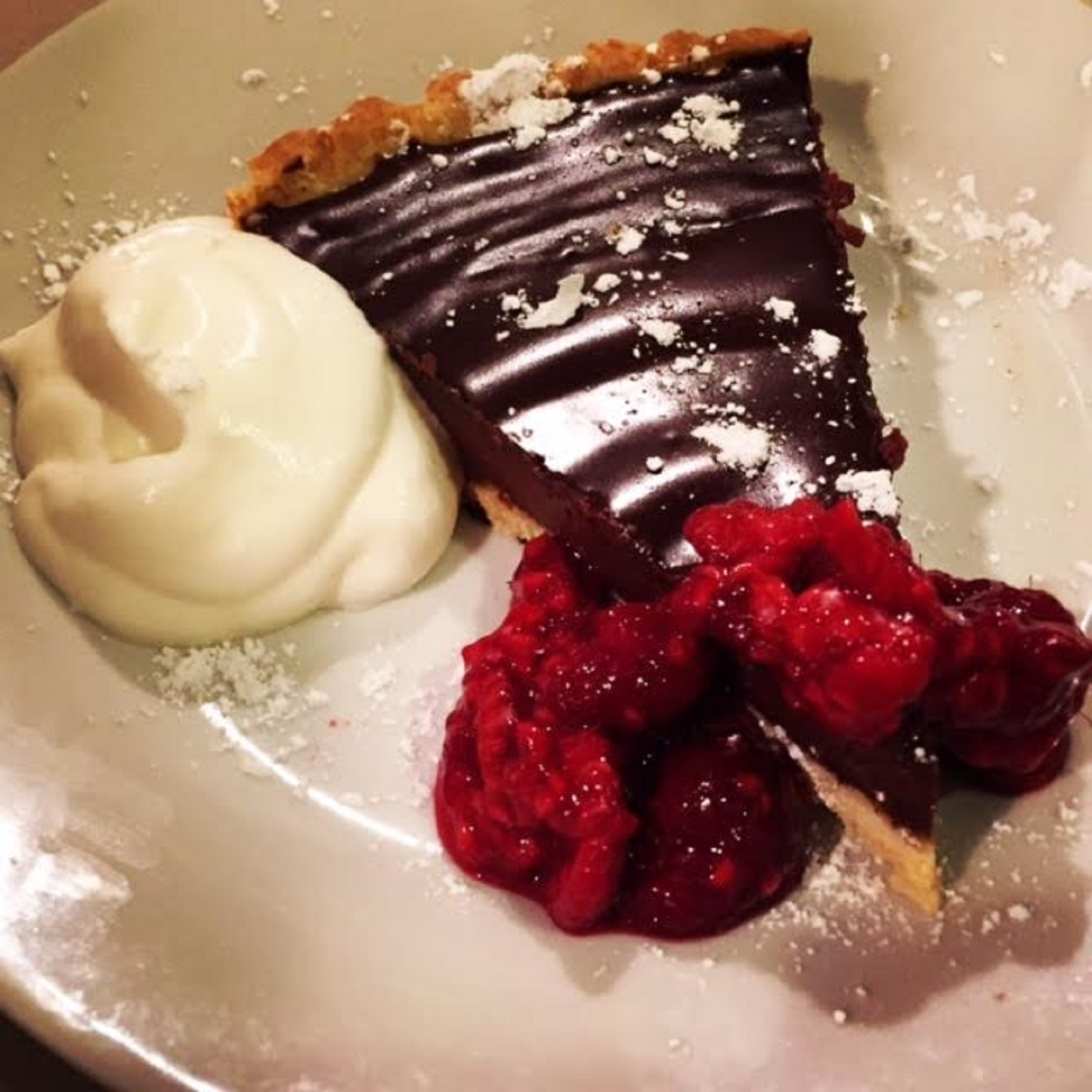 Flourless Glazed Chocolate Tart with Lavender Creme Anglaise