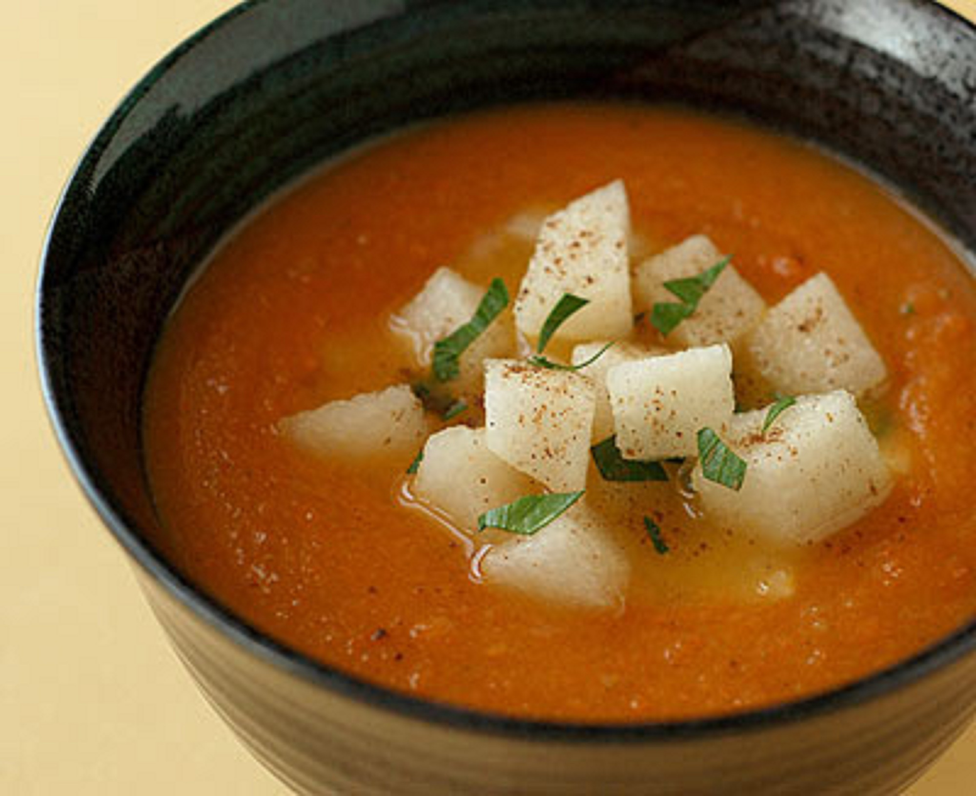 Jamaican Carrot Soup with Pear Relish