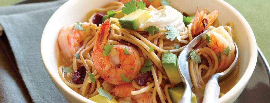 Shrimp, Ancho Chili and Vermicelli Pasta Soup with Avocado, Sour Cream and Cilantro