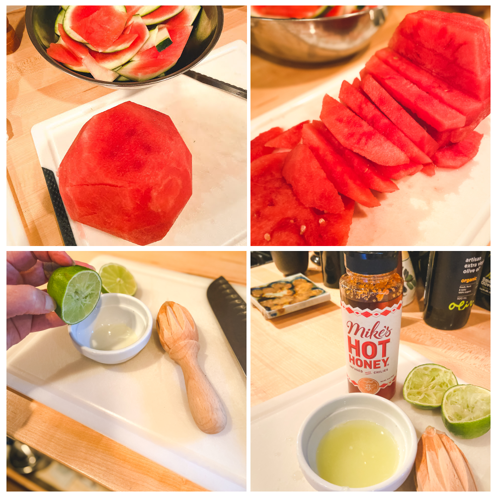Grilled Watermelon Mint Salad with Lime, Honey Dressing Step By Step
