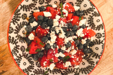 Watermelon Mint Salad Lime and Honey Dressing with Blueberries