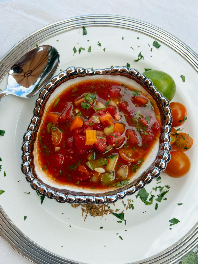 Summer Time Gazpacho Soup in bowl