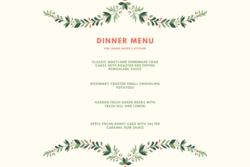Menu for a delicious dinner at home