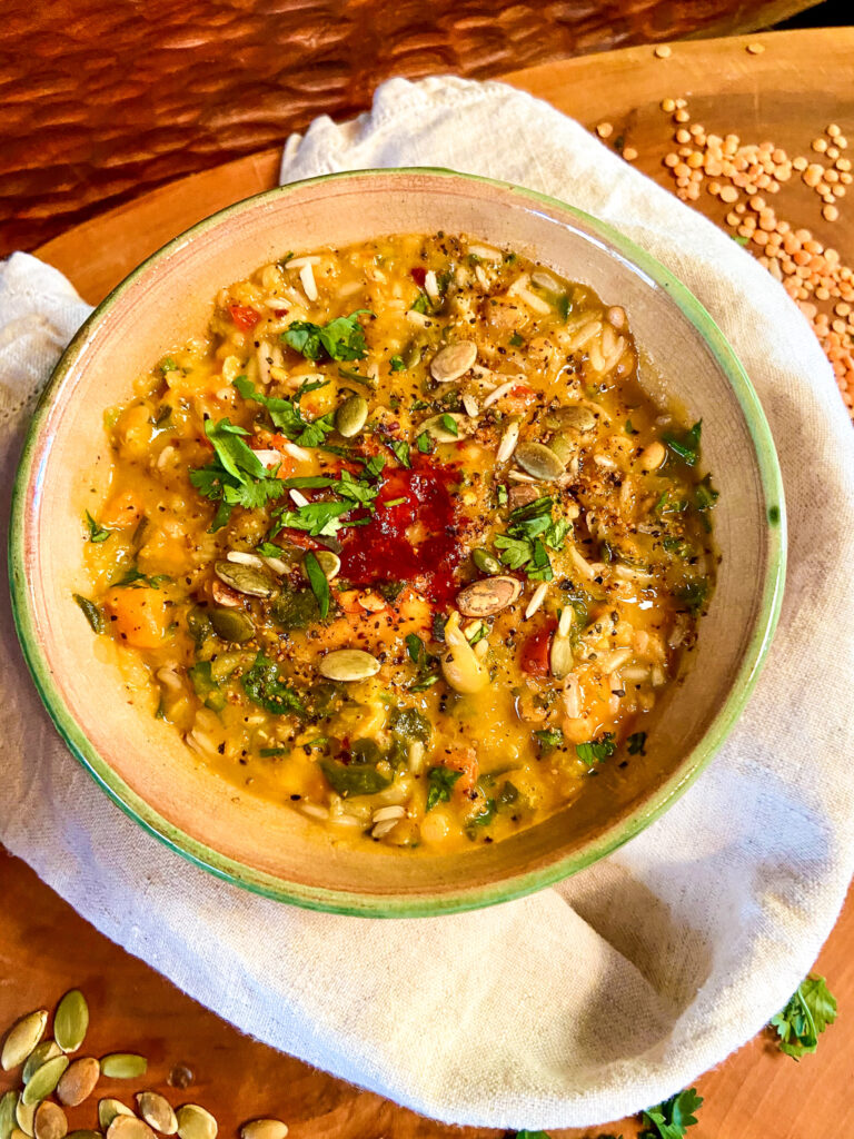 Moroccan Red Lentil Stew in bowl