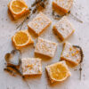 Meyer Lemon Bars with Lavender Crust and heart shapes