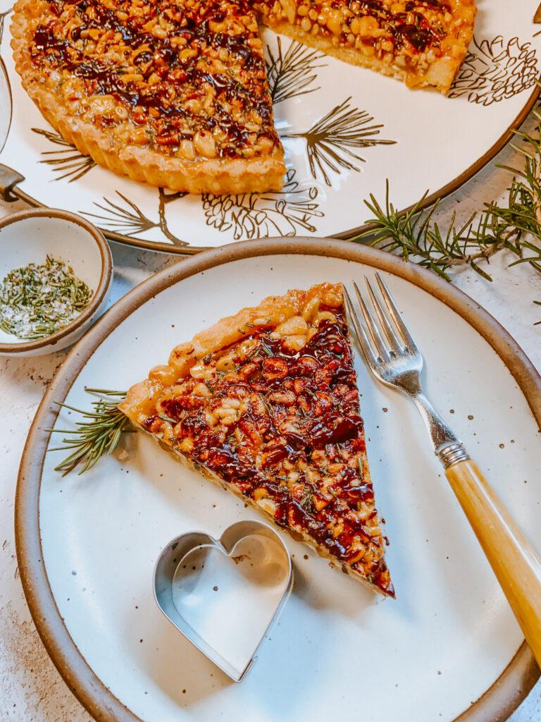 Salty Multi-Nut Tart with Rosemary Slice
