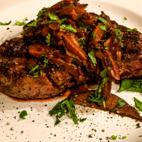 Red Chili-crusted Filet Mignon with Wild Mushroom-Ancho Chili Sauce